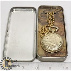 TRAIN THEMED POCKET WATCH NEW IN TIN