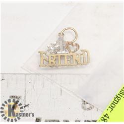 """10K GOLD """"#1 FRIEND"""" PENDANT"""