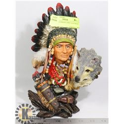 10 INCHES INDIAN CHIEF AND WOLF STATUE