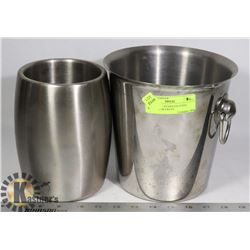LOT OF TWO STAINLESS STEEL  WINE / ICE BUCKETS