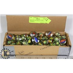 BOX FULL OF VINTAGE CATS EYE MARBLES
