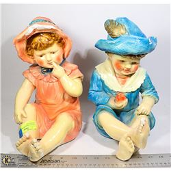 VINTAGE CHALK WARE FIGURES OF BOY AND GIRL