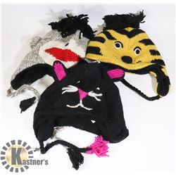 LOT OF 3 ANIMAL FACE TOQUES