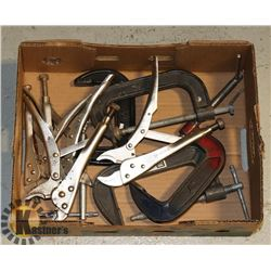FLAT OF ASSORTED VICE GRIPS AND CLAMPS