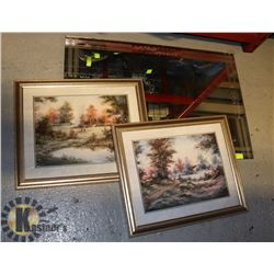 MIRROR AND 2 FRAMED SCENIC PICTURES