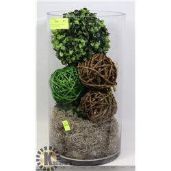SHOWHOME GLASS VASE WITH TWIG BALLS, GREENERY