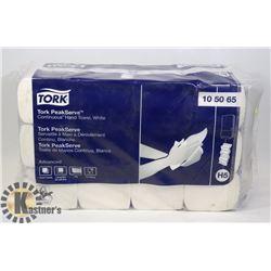 CASE OF TORK PEAK SERVE CONTINUOUS HAND TOWEL