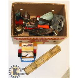 BOX OF OLD TOOLS AND MORE