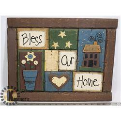 FOLK ART BLESS OUR HOME,HANDMADE .WOOD 17X131/2