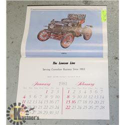 "24"" X 16"" 1981 EARLY YEARS CAR CALENDAR"