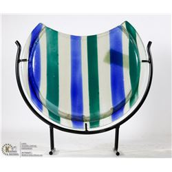 BLUE AND GREEN STRIPED SHOWHOME VASE