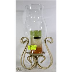 HURRICANE GLASS LAMP WITH NEW CANDLE