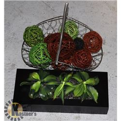 WIRE DESIGN BASKET +TWIG BALLS,WOOD PLANTER BOX