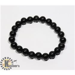 #232-RAINBOW BLACK OBSIDIAN BRACELET 8mm/ 7.5""