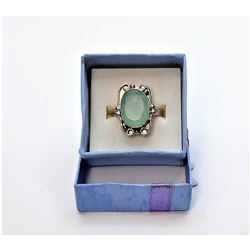 15)  SILVER TONE AND PALE GREEN NEPHRITE
