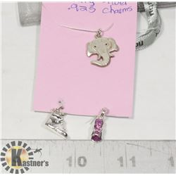 3 STERLING SILVER .925 CHARMS,ELEPHANT,2 SHOES