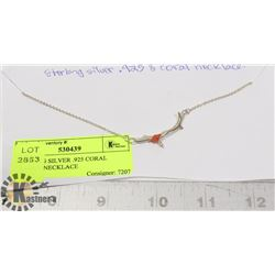 STERLING SILVER .925 CORAL BRANCH NECKLACE