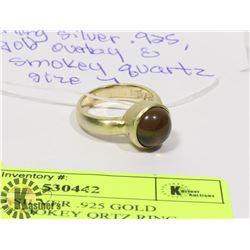 STERLING SILVER .925 GOLD OVERLAY/SMOKEY QRTZ RING