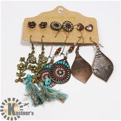 6 PAIRS OF ASSORTED EARRINGS