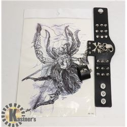 NEW SKULL BIKER BRACELET SOLD WITH LARGE SPIDER