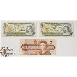 TWO CANADIAN 1972 $1 BILLS & ONE 1986 $2 BILLS