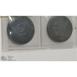 GERMAN WW2  COINS  10 PFENNIG (WITH SWASTIKA) 1940