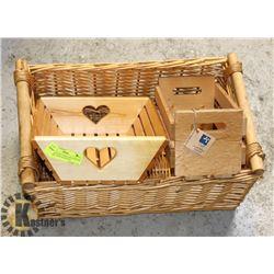 WOOD HEART CARVED BOX,WICKER BASKET ,NEW WOOD BOX