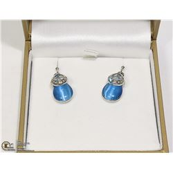 BLUE TOPAZ & RHINESTONE DROP EARRINGS