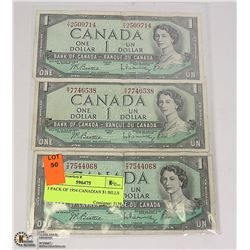 3 PACK OF 1954 CANADIAN $1 BILLS
