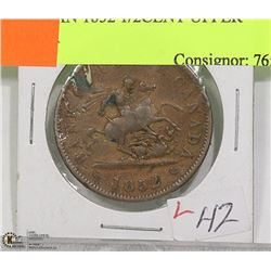 CANADIAN 1852 1/2CENT UPPER CANADA