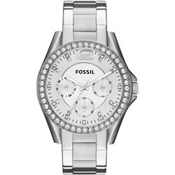 NEW FOSSIL 38MM TRIPLE DIAL SILVER-TONE MSRP $220