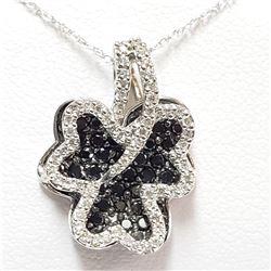 70) 18KT WHITE GOLD BLACK DIAMOND PENDANT WITH