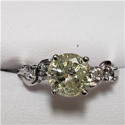 55) 10KT WHITE GOLD DIAMOND RING. SIZE 6.5