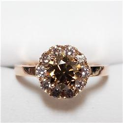 53) 10KT ROSE GOLD FANCY COGNAC COLORED DIAMOND
