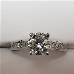 51) 14KT WHITE GOLD DIAMOND RING. SIZE 7