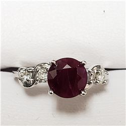 61) 10KT WHITE GOLD RUBY AND DIAMOND RING. SIZE 6.