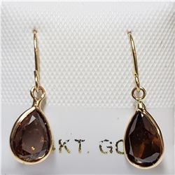 64)14KT YELLOW GOLD PAIR OF BROWN DIAMOND EARRINGS