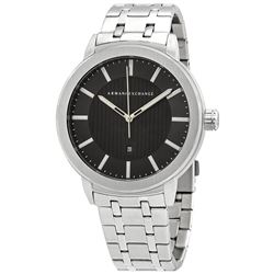 NEW ARMANI EXCHANGE BLACK DIAL/ST. STEEL BAND 46MM