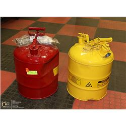 PAIR OF 5 GALLON METAL GAS CANS