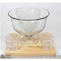 GLASS BOWL, CUTTING BOARD AND CANDLE HOLDERS