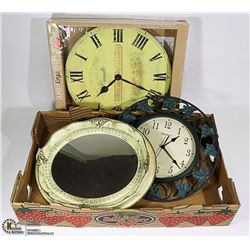 TWO WALL CLOCKS WITH A MIRROR