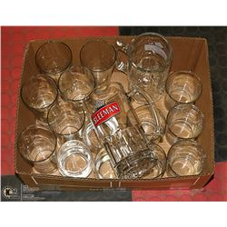 BOX W/ASSORTED GLASSWARE INCL. 6 BEER