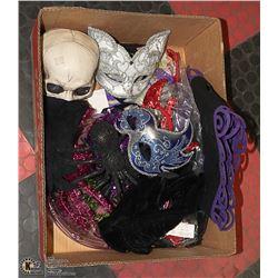 BOX OF HALLOWEEN DECOR INCL. SKULL, KITTY