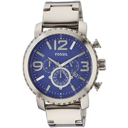 NEW FOSSIL BRUSHED SILVER TONE S/STEEL BLUE DIAL