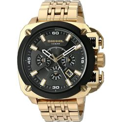NEW DIESEL TRIPLE CHRONO GOLD TONE MSRP $506 55MM