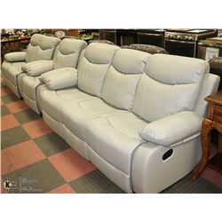 NEW SF3558 GREY LEATHERETTE RECLINING SOFA WITH