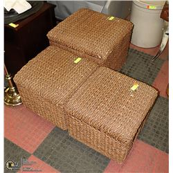 3-PC BROWN FOOT REST/ STOOLS/ SEATS