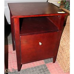 SOLID DARK WOOD SIDE TABLE WITH FILE