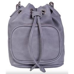 NEW GREY DRAWSTRING BUCKET PURSE, COMES WITH