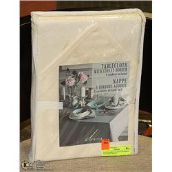 CLOTH TABLE CLOTH AND NAPKIN SET BEIGE, 60 X 84